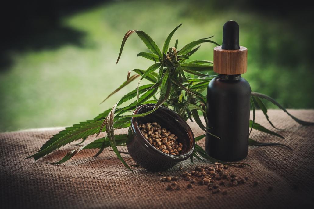 CBD Öl Flasche mit einer Cannabis Pflanze im Hintergrund