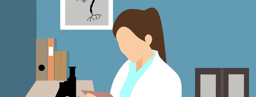 Frau führt eine Forschung durch