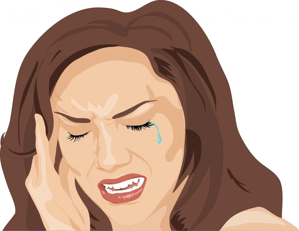 Frau mit Kopfschmerzen fast sich an ihren Kopf
